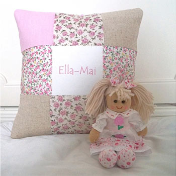 Pink Personalised Name Cushion and Rag Doll Gift Set