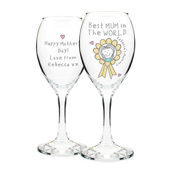 Personalised Purple Ronnie Rosette Wine Glass For Her