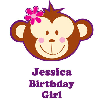 Personalised Monkey Girl T Shirt 1 to 2 Years