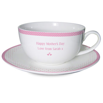 Pink Worlds Best Teacup and Saucer Mum Nan Godmother
