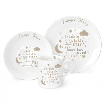 Personalised Twinkle Twinkle China Breakfast Set