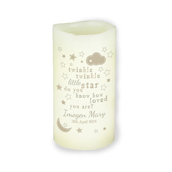 Personalised Twinkle Twinkle LED Candle Baby Night Light