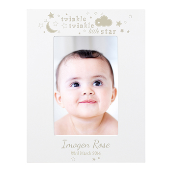 Personalised Twinkle Twinkle 6x4 White Wooden Photo Frame