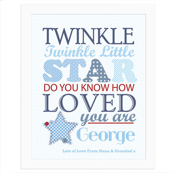 Twinkle Twinkle Boys Personalised Poster White Frame