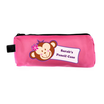 Personalised Pink Monkey Girl Pencil Case