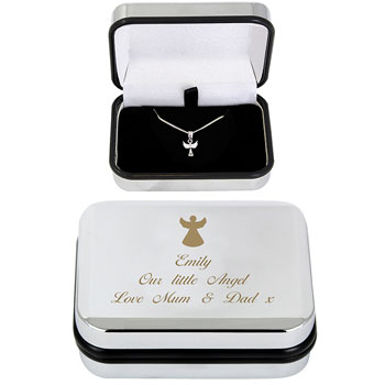 Personalised Silver Plated Angel Necklace and Box