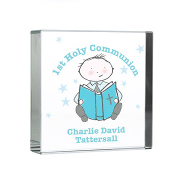 Personalised Christening or Communion Crystal Token For Boy