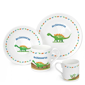 Personalised Dinosaur China Breakfast Set