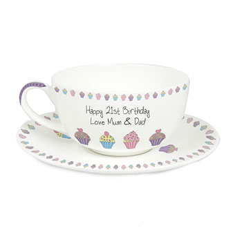 Personalised Cupcake Teacup and Saucer