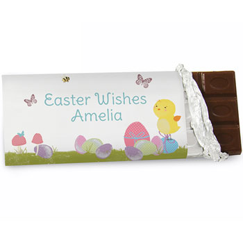 Personalised Easter Meadow Chick Chocolate Bar