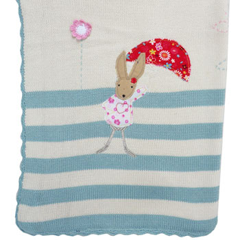 Personalised Embroidered Knitted Rabbit Cot Blanket