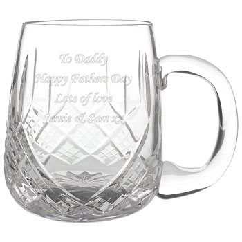Engraved Pint Cut Crystal Round Tankard