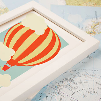 Large Hot Air Balloon Personalised Framed Print