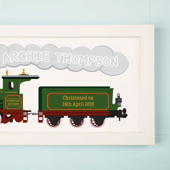 Large Steam Train Personalised Framed Print