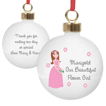 Personalised Our Beautiful Flower Girl Bauble