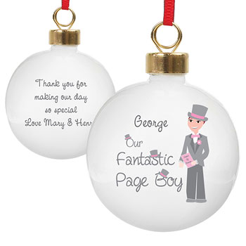 Personalised Our Fantastic Page Boy Bauble