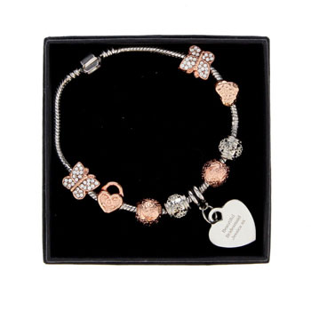 Personalised 18cm Rose Gold Charm Bracelet Any Message