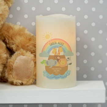 Personalised Noahs Ark LED Candle Night Light Exclusive