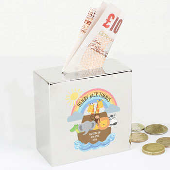 Personalised Noahs Ark Square Money Box Exclusive