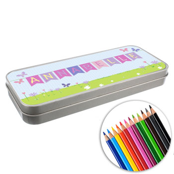 Personalised Garden Bunting Colouring Pencil Tin and Pencils