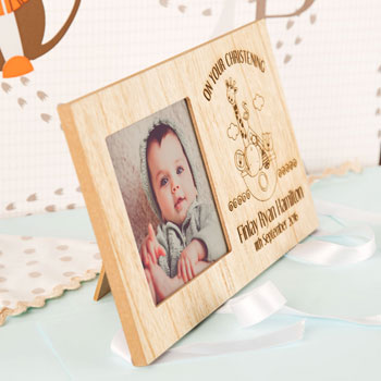 Personalised Noahs Ark Wooden Christening New Baby Frame