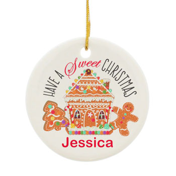 Personalised Gingerbread House Round Ceramic Decoration