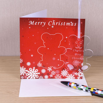 Christmas Card With Personalised Teddy Decoration