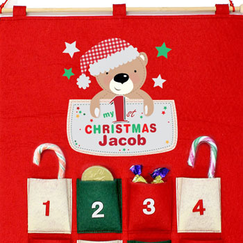 Personalised Pocket Teddy My 1st Christmas Advent Calendar