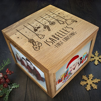 Solid Oak Personalised Babys First Christmas Memory Box