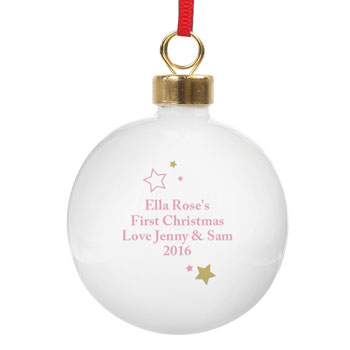 Personalised Pink and Gold Stars My 1st Christmas Bauble