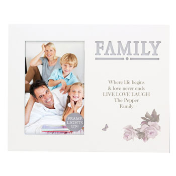 Personalised Family Floral 6x4 Inch Light Up Frame