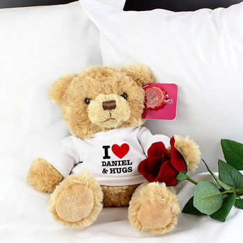 Teddy Bear With Personalised I Heart T Shirt