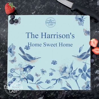 Personalised Country Diary Blue Blossom Glass Chopping Board