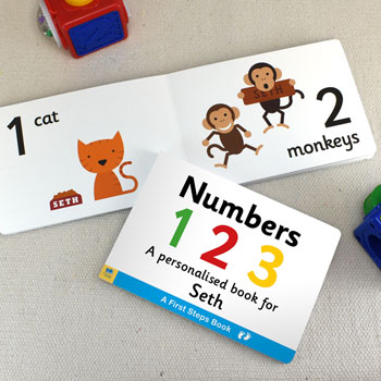 First Steps Personalised Numbers Board Book For Toddlers