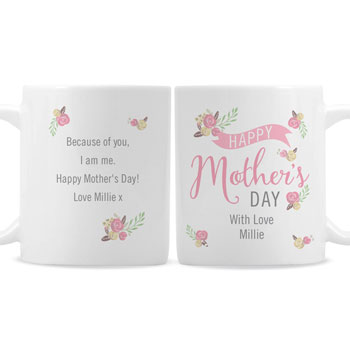 Personalised Floral Bouquet Mothers Day Slim Mug