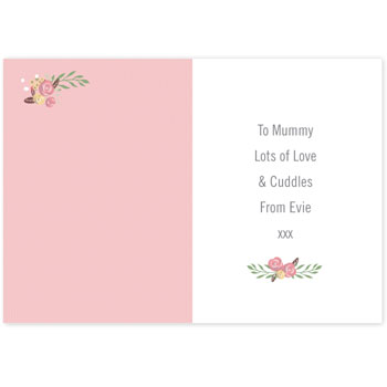 Personalised Floral Bouquet Mothers Day Card Free Delivery