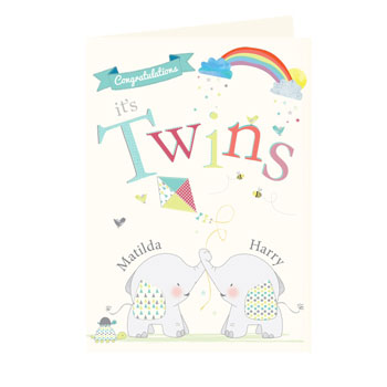 Personalised Hessian Elephant Twins Card Free Postage