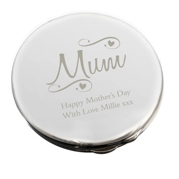 Personalised Mum Swirls Hearts Compact Mirror Any Message