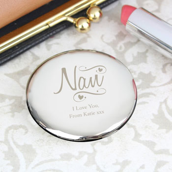 Personalised Nan Swirls and Hearts Compact Mirror Any Text