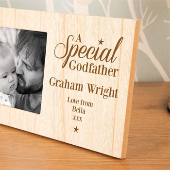 Special Godfather Personalised Wooden Photo Frame | Born Gifted