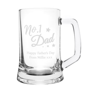 Personalised No.1 Dad Glass Pint Stern Tankard