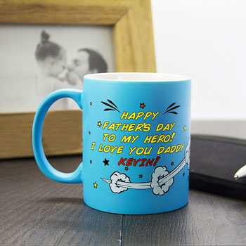 Personalised Super Dad Matte Coloured Mug