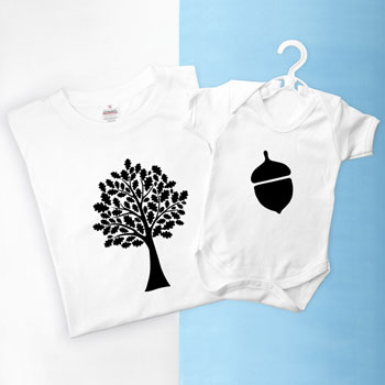 Personalised Daddy and Me Acorn Tee Shirt and Baby Grow Set