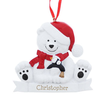 Personalised Polar Bear Resin Christmas Tree Decoration