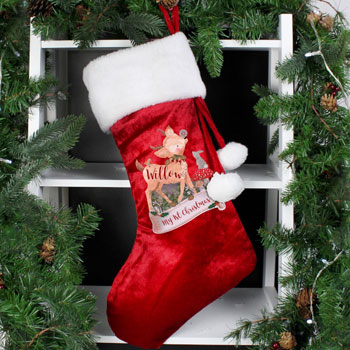 Personalised Festive Fawn Luxury Christmas Stocking