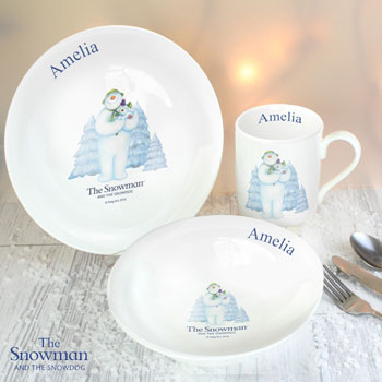 Personalised The Snowman and The Snowdog Xmas Breakfast Set