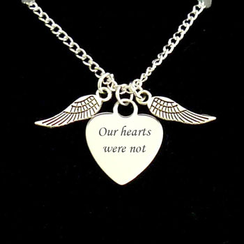 Angel Wings Memorial Necklace With Engraved Heart