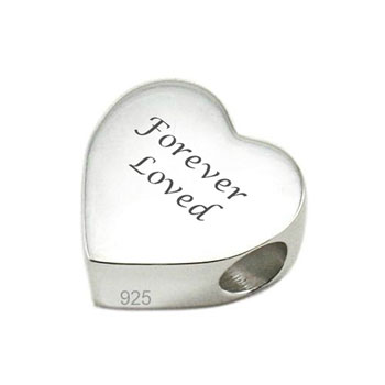 Sterling Silver Engraved Memorial Heart Charm