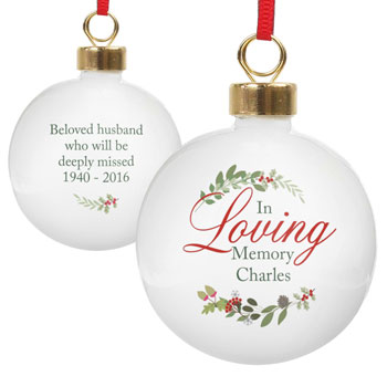 Personalised In Loving Memory Ceramic Wreath Bauble