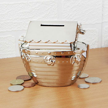 Engraved Silver Plated Noahs Ark Money Box
